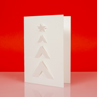 Stylish geometric XMAS TREE cut out Christmas card in white - Design C