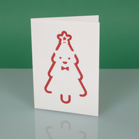 Cute handmade modern CHRISTMAS CARD with cut out XMAS TREE