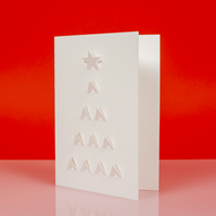 Stylish geometric XMAS TREE cut out Christmas card in white - Design A
