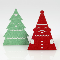 Pack of 2 sparkly 3D standing Christmas card in glitter - SANTA & XMAS TREE