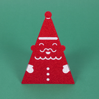 Sparkly 3D standing 'SANTA' Christmas card in glittery red and silver