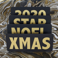 Pack of 4 stylish glitter Christmas cards. Black card with raised gold type