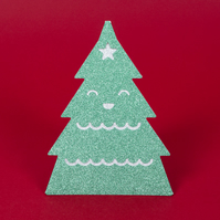 Sparkly 3D standing 'XMAS TREE' Christmas card in glittery green and silver