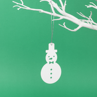 12 paper snowman ornaments - pack of 12 Xmas paper decorations in white