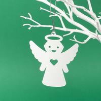 12 paper angel ornaments - pack of 12 Xmas paper decorations in white