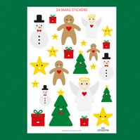 24 cute Christmas stickers in a variety of sizes, snowman, tree, angel, present
