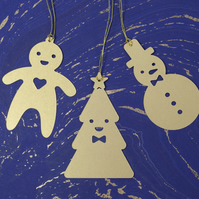 12 cute tree ornaments - snowman, gingerbread man in pearl white, red or gold