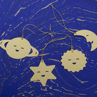10 cute SPACE planets xmas paper ornaments available in pearl silver and gold