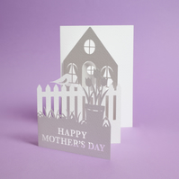 Unique fold out Mothers day card with a home and garden illustration