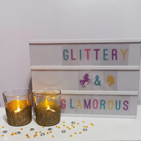 Gold glittered candle holders