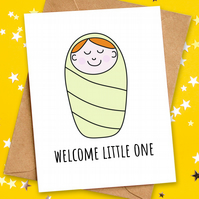 Welcome Little One, New Baby Girl Boy Congratulations Card by HabFab