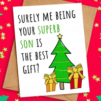 Funny Christmas Card from Son to Mum Dad Parents