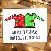 Funny Cute Christmas Card for Boyfriend from Girlfriend