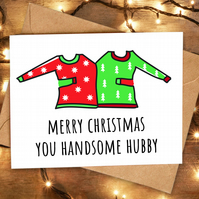 Funny Cute Christmas Card for Husband from Wife