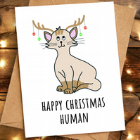 Funny Cat Christmas Card, Happy Christmas Human for Cat Mom Mum Dad
