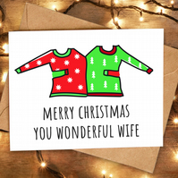 Funny Cute Christmas Card for Wife from Husband