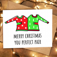 Funny Cute Christmas Card for Pair Couple Friends