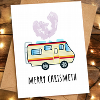 Merry Chrismeth Christmeth Xmas Pun Card, Funny Christmas Card