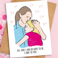 Mother's Day Card, Birthday Card for Mum, Love You Mom, A6, Eco Friendly