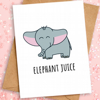 Cute Anniversary Valentines Card, Elephant Juice, A6, Eco Friendly