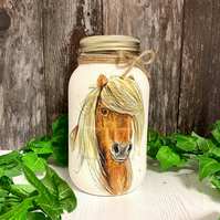 Large Horse Glass Storage Jar