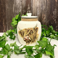 Large 2L Highland Cow Cookie Jar - Farmhouse Kitchen Decor