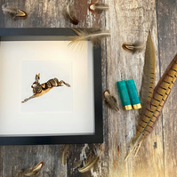 Natural Pheasant Feather Jumping Hare Framed Art - Nature Lover Gift