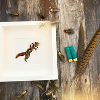 Natural Pheasant Feather Cute Fox Framed Art - Animal Lover Gift