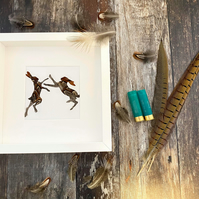 Natural Pheasant Feather Boxing Hares Framed Art - Mad March Hare