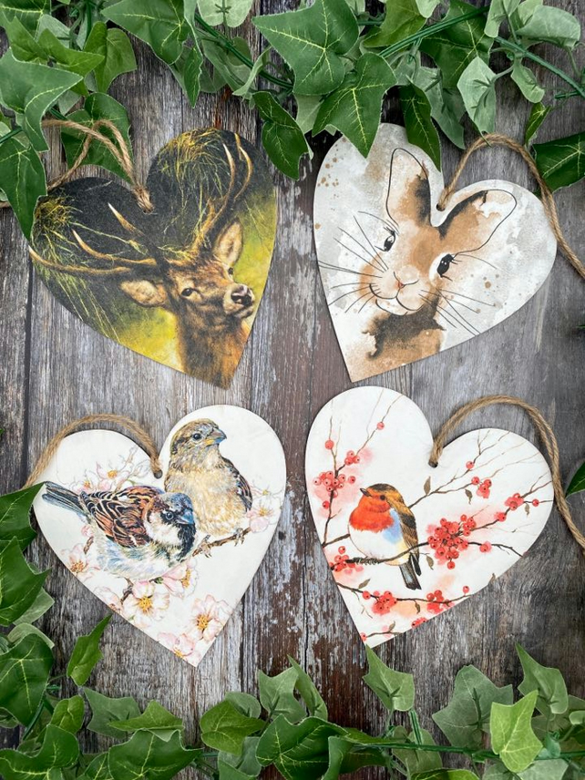 Nature Wooden Hanging Hearts