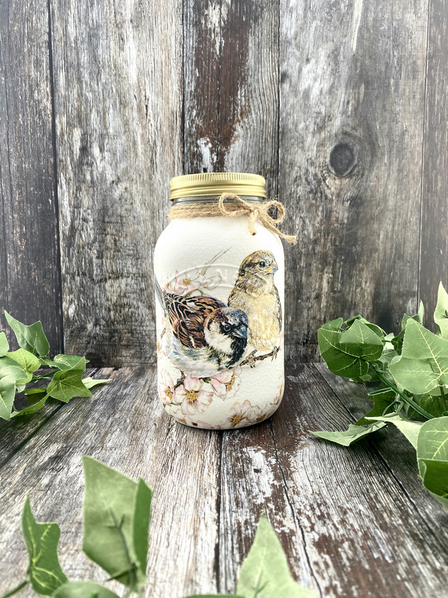 Tea Coffee Sugar Sparrow Mason Jar