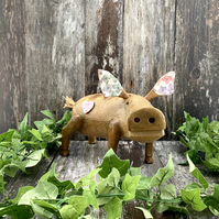 Large Wooden Pig Ornament