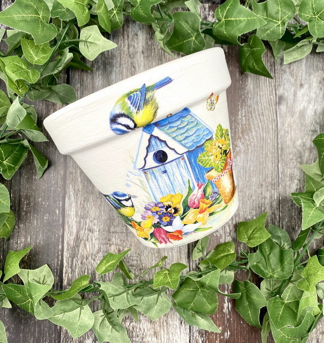 Blue Tit Terracotta Flower Pot - Bright and Bold Patio Decor