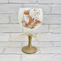 Large Glass Fox Candle Holder - Rustic Style Decor