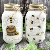 Set of 3 Bumblebee Glass Mason Jars