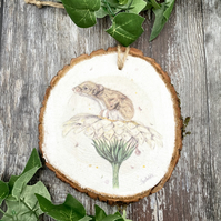 Mouse On Flower Hanging Wooden Slice