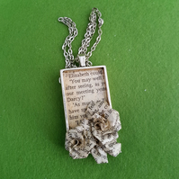 Jane Austen book paper pendant necklace. Recycled paper jewelry gift
