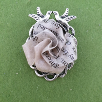 Recycled book paper Pride and Prejudice rose brooch for book lover. Origami