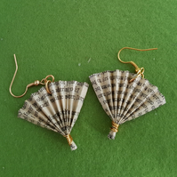 Pride and Prejudice fan earrings from recycled paper.