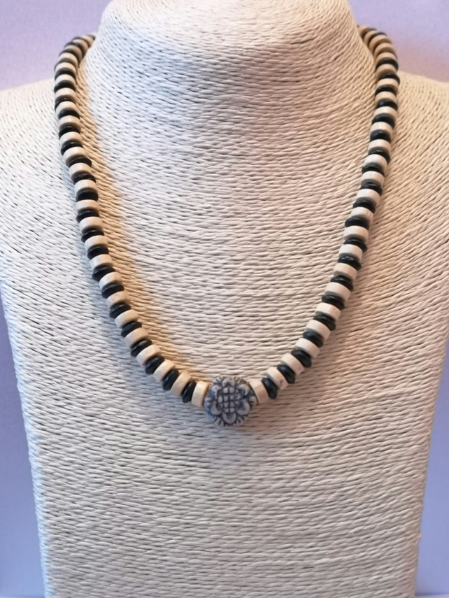 Rustic wood and ceramic black, white and grey unisex necklace