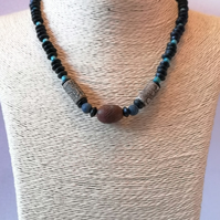 Black, brown and blue wood and ceramic unisex bohemian necklace