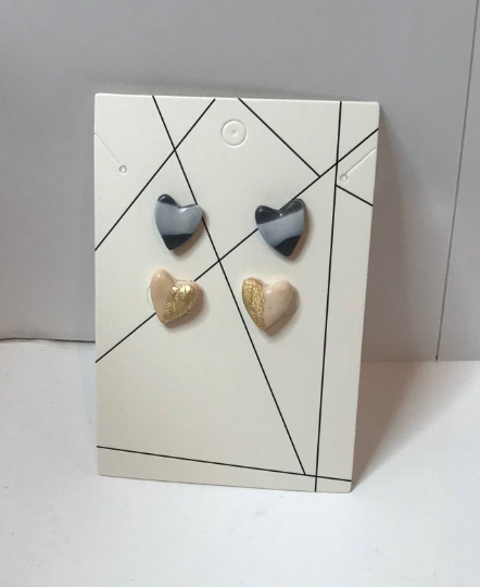 Two pairs of heart shaped handmade polymer Clay stud earrings