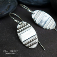 Medium Oval Sterling Silver Stripe Earrings