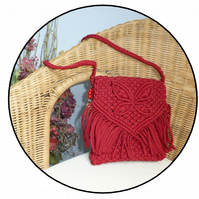 Handmade Red Macrame Butterfly shoulder bag