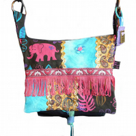 Canvas messenger bag ~ bright with pink fringe
