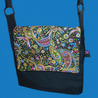 Messenger Bag, Psychedelic,  Black Canvas