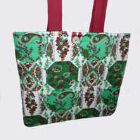 Tote Bag with Vintage Fabric