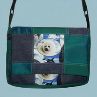 Patchwork Messenger Bag with Seals for Hannah