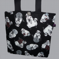 Tote Bag with knitting sheep