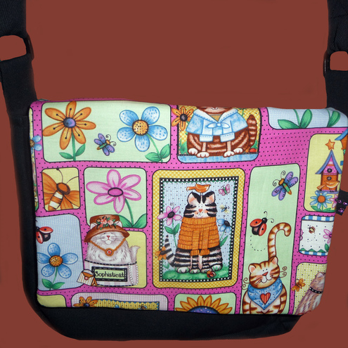 Canvas Messenger Bag - with Sophisticated Cats
